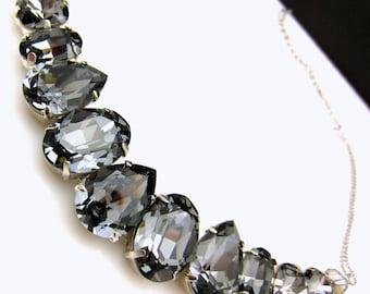christmas prom Swarovski silver night metalic dark gray vintage multi shape foiled pendant crystal rhinestone chunky bib statement necklace
