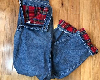 90s LL Bean Classic Fit Blue Jeans with Red Flannel Lining, 34 by 32, Women's Large to XL, Men's Medium