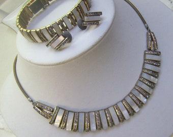 Art Deco Rhinestone Parure Doso Germany Set...Designed By Esha Randel...Channel Set Rhinestone Necklace...Bracelet...Earrings
