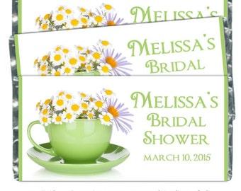 50 Wedding Candy Wrappers, Daisy Bridal Shower Candy Wrappers, Daisy Wedding Shower Candy Wrappers - fit 1.55 oz chocolate bars - CUSTOM