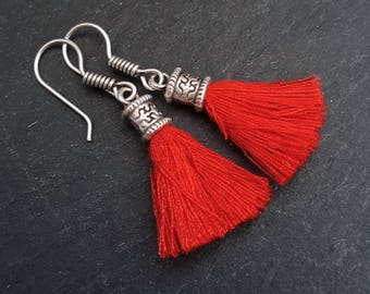 Mini Red Tassel Drop Earrings Bohemian Boho Style Light Comfortable Daytime Jewelry Authentic Turkish Style
