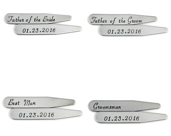 CUSTOM WEDDING PARTY Mens Gifts Hand Stamped Collar Stays - Set of Four Gifts