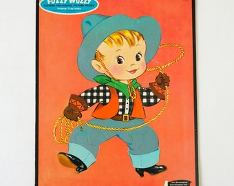 Vintage 1960s Toy Puzzle / WHITMAN Little Cowboy Fuzzy Wuzzy Flocked Picture Toy Puzzle / Western Rodeo Lasso Retro Kitsch Childs Room Decor