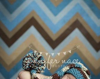 Baby Boy Elf Hat in Dusty Blue, Chocolate, and Oatmeal