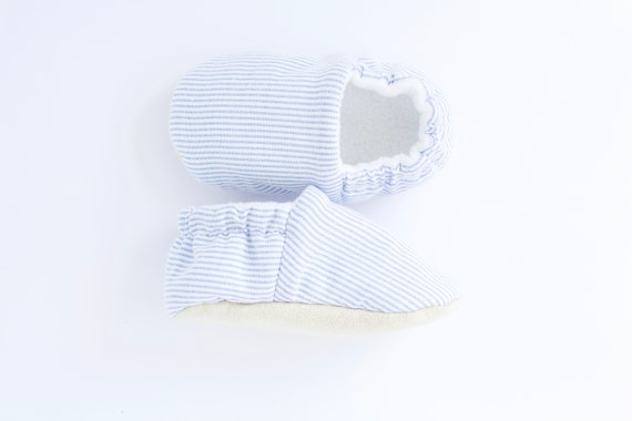 Baby Blue and white stripe baby moccs, pram shoe, pre walker