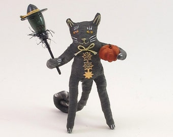 Spun Cotton Vintage Style Halloween Standing Black Cat Figure (MADE TO ORDER)