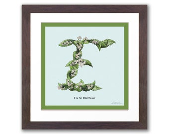 E Letter Print, Wall Art Prints, Alphabet Prints from the Culinary Collection. Initial Personalised kitchen dining room decor gardener cook