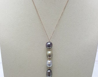 Tahitian Pearl Pendant necklace with 18K chain, multi colour.