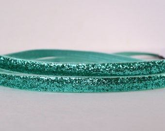 "Turquoise Blue Metallic Shiny Sparkles Ribbon 1/4"" Scrapbooking HairBows Parties DIY Projects Az509"