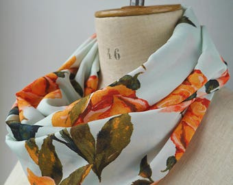floral infinity scarf in viscose rayon polyester, light blue loop scarf with flowers, round scarf gift idea