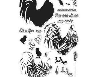 Hero Arts - Parisian Style Collection - Clear Acrylic Stamps - Color Layering Rooster
