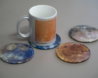 Planet Coasters - Glass Coaster - Planets - Space - Astronomy - Furniture Protector - Home Decor - Whimsical - Set of Coasters - Living Room