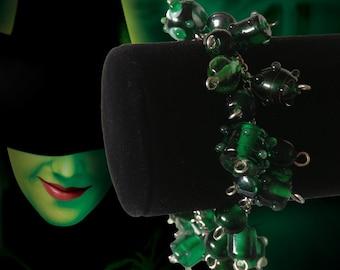 Wizard of Oz Inspired Emerald Green Glass Beaded Bracelet