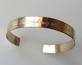 Inspirational Bracelet. Personalized Gold Cuff Bracelet. Quote Bracelet. Custom Word Bracelet. Meaningful Gift. Customized Bangle Bracelet
