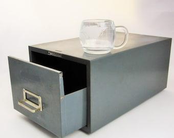 A Grey-painted Metal File Drawer - Bumper Feet From 'Steelmaster - N.Y.' - Large File Drawer