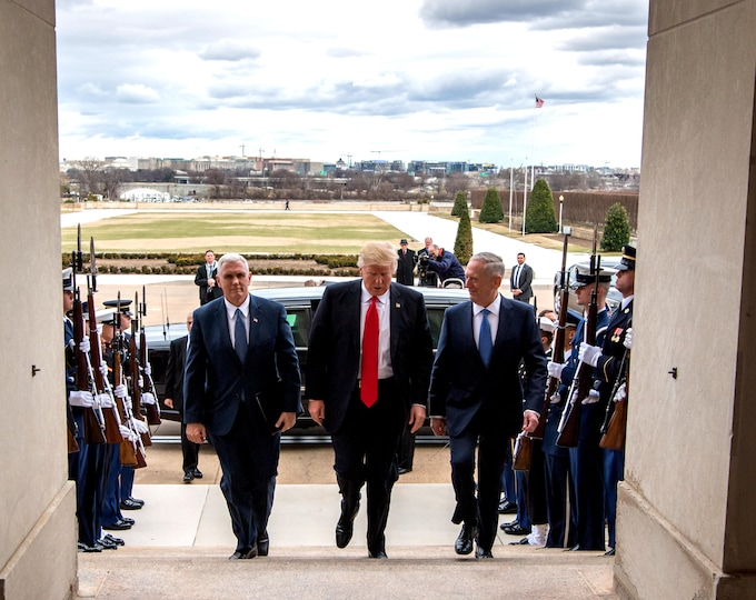 President Donald Trump Walks Into The Pentagon with Vice President Mike Pence and Jim Mattis - 5X7, 8X10 or 11X14 Photo (ZY-746)