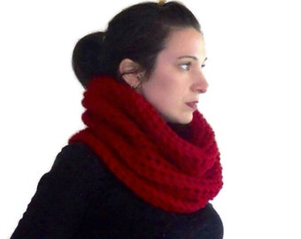 Crochet cowl scarf, red cowl hood, crochet hood, Hooded cowl, crochet scarf, chunky crochet cowl, gift for her, mothers day gift