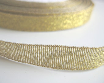 "Gold Metallic Tinsel and Rayon ribbon - 3/8"" - 10 mm"