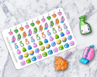 Cleaning Stickers / Chores / Kawaii /  Fits Erin Condren & MAMBI / Filofax / Kikki K / Stationary / Scrapbooking