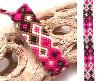 Friendship bracelet - knotted - embroidery floss - handmade - woven - diamond pattern - pink - brown - white - string - macrame - braided