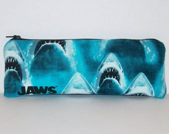 "Pipe Pouch, Jaws Bag, Shark Pipe Case, Pipe Bag, Zipper Bag, Padded Pipe Pouch, Vape Pen Bag, Ocean, Weed Bag, 420, Stoner Gift - 7.5"" LARGE"