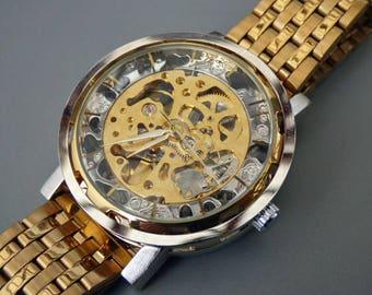 Luxury Mechanical Wrist Watch, 44MM Gold link wristband, Automatic Watch, Men's Watch, Gold & Silver Watch, Item MWA224