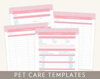 Pet Care Templates, Editable PDF Files, for A4 and Letter Paper, Instant Download