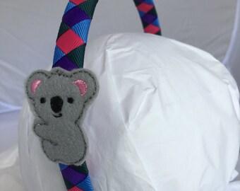 Headband- Koala Headband - Koala Bear- baby koala- Headband- Hair Accessory- jungle- gift for girl- stocking stuffer- gray koala