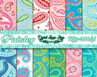 Sweet PAISLEY Pattern Digital Papers Pack - 12pcs 300dpi (paper crafts,card making,scrapbooking) Personal and Commercial use