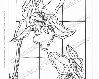 """Orchids on Glass """"Two Orchids in the Window"""" Adult coloring page printable download from Artwork Anywhere ~hand drawn stained glass look~"""