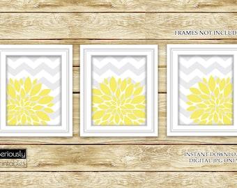 Yellow Flower Burst Wall Art Gray Chevron Bathroom Bedroom Livingroom Nursery Decor Printable 3-8x10 Digital JPG Instant Download (45)
