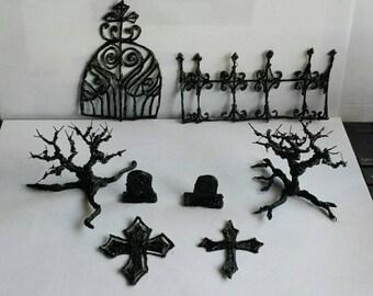 Miniature cemetary set, gothic fairy garden
