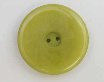 "30 MM Polished Natural Tagua Sew-Thru Button - 1 & 3/16"" - TGP48 Lichen"