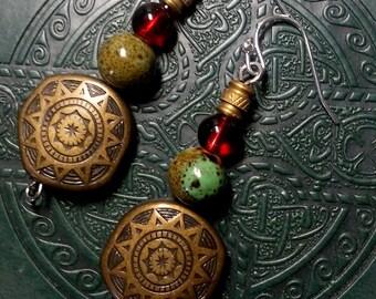 Aztec Sun And Ceramic Earrings