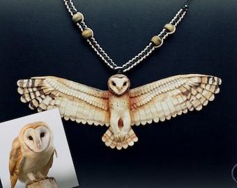 Barn owl (Tyto Alba) realistic polymer clay necklace