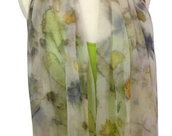 Light Gray Art Scarf, Silk Chiffon Scarf, Eco Print, Floral ~ 100% silk chiffon scarf - accessories, Colorful Scarves, Shawl, Cover-Up