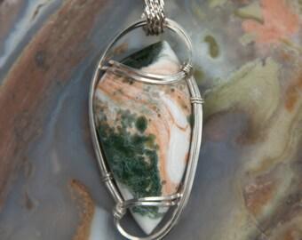 Ocean Jasper Wire Wrapped Pendant - Sterling Sliver Wire Wrapped Stone Pendant - Stone Wire Wrap Pendant - Ocean Jasper Pendant