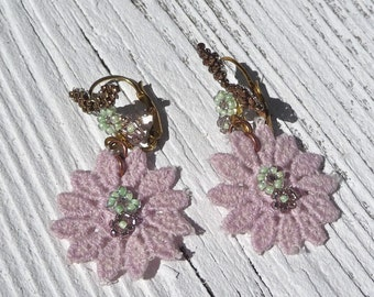 ROSE LACE French Handmade romantic earrings