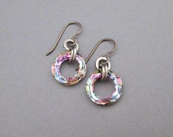 Crystal Dangle Earrings, Swarovski Crystal Earrings, Crystal Hypoallergenic Earrings, Pastel Earrings, Round Crystal Earrings, Pink Crystal
