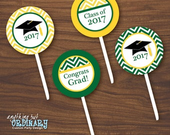 2017 Chevron Green and Gold Graduation Party Circles for Cupcake Toppers, Favor Tags, DIY printable digital file