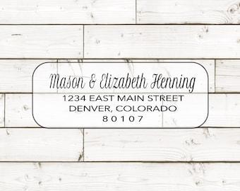TRANSPARENT Return address label - custom- 2 5/8 x 1 inch rectangular, transparent label, sticker, wedding announcements - SET OF 30