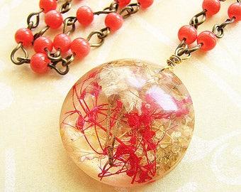 Pressed Flower Necklace Real Flower Jewelry Real Flower Necklace Coral Resin Necklace Pressed Flower Jewelry