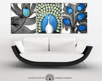 PROUD peacock art + Swarovski®. Large abstract art. Luxury peacock painting. Peacock wall art. Teal art. Peacock blue. Peacock decor XXL art