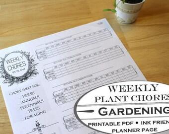 Weekly Plant Gardening Chore Chart - Printable Garden Planner Page for Garden Journals
