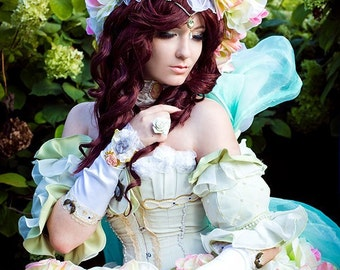 Sakizo cosplay/fantasy costume/masquarade adult fairy costume/ fantasy dress with overbust metal boned corset/flower dress/ FREE SHIPPING