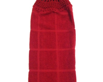Burgundy Hand Towel With Claret Crocheted Top