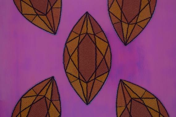 Orange Jewel Iron on Patch