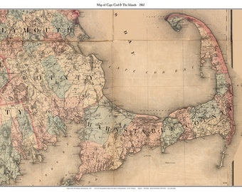 Cape Cod 1861 Map by H.F. Walling - Excerpt & Reprint - Shows house locations and roads