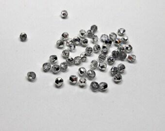 50 Crystal Half Labrador Czech Metallic Rounds, 4mm Rounds, Beads, Supplies, Jewelry Making Supplies