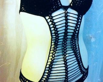 black goth  crochet swimsuit monokini handmade 100% cotton